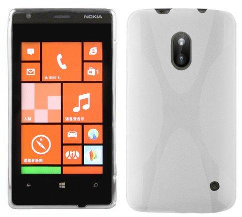 Cadorabo Hülle für Nokia Lumia 620 - Hülle in Magnesium WEIß – Handyhülle aus flexiblem TPU Silikon im X-Line Design - Silikonhülle Schutzhülle Soft Back Cover Case Bumper