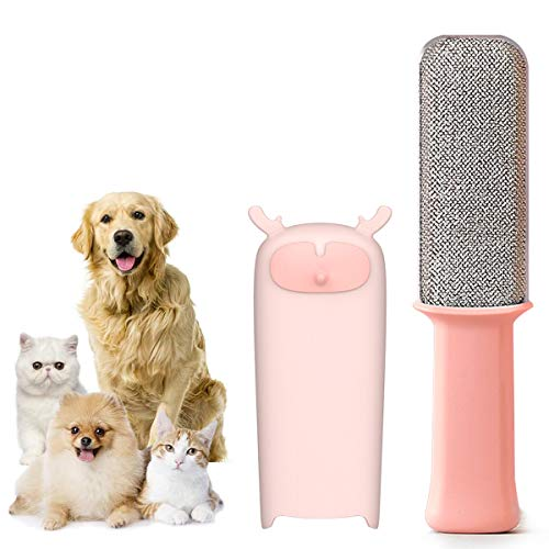 Pet Hair Remover Brush Removal - Portable Dog or Cat Fur Cleaner Tool for Furniture, Carpet, Clothing, Car Seat Self-Cleaning Base Efficient Double-Sided Perfec (Pink)