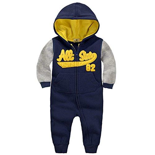 Minizone Baby Overalls mit Kapuze Säugling Baumwolle Strampler Unisex Langarm-Body Reißverschluss