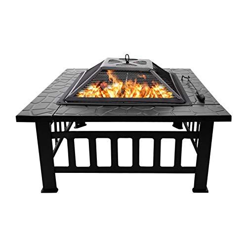 Feuerschale, Feuerstelle mit Grillrost,Garten Feuerkorb für Heizung/BBQ, Schürhaken & Schutzgitter,Fire Pit & Grill mit Ablagefach,für Camping Hof Garten Terrasse (81CM-Quadratischer Feuerschale)