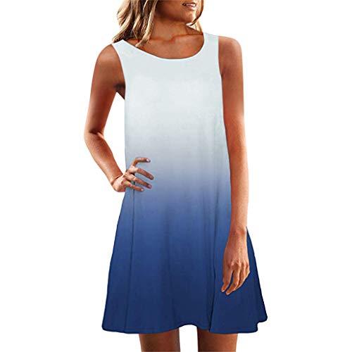 COZOCO 2019 Heißes Verkaufendes Arbeitskleid Frauen äRmellose Rundhalsausschnitt BeiläUfige Lose Passende Farbverlaufskleider Sky Blue 2XL
