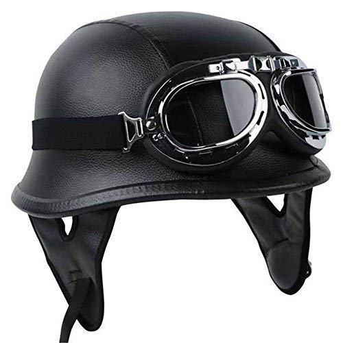 TCTM Half Helmet Black Dot Adult German Style Added Leather Protection with Goggles (XL)