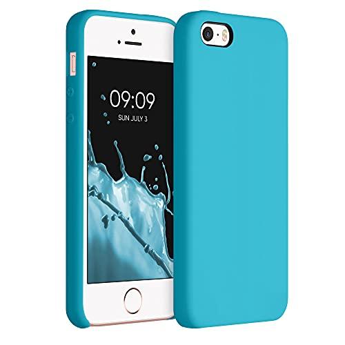 kwmobile Cover Compatibile con Apple iPhone SE (1.Gen 2016) / 5 / 5S - Cover Custodia in Silicone TPU - Back Case Protezione Cellulare Celeste Scuro