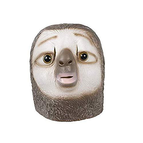 molezu Faultier Maske Latex Tier maskeTierkopf Maske Halloween Kostüm Party Maske für Erwachsene.