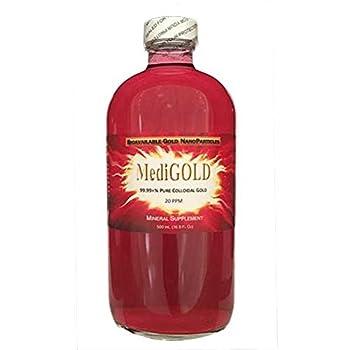 MediGOLD true colloidal Gold - 500 mL in a clear glass bottle