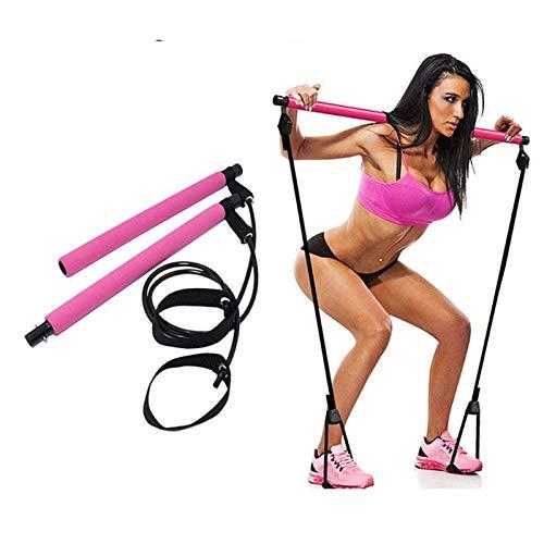 Gmjay Fitness Sport Pilates Bar Kit Gym Workout Stick Pilates Barra de Ejercicios Kit con Banda de Resistencia Body Building Puller Cuerda de Yoga,Pink