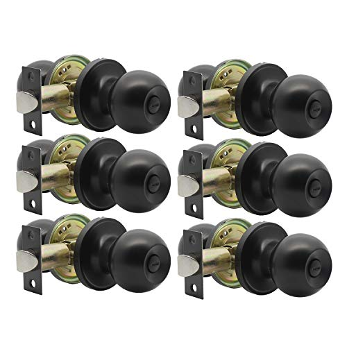 Privacy Door Knobs with Lock Bathroom Door Knob Door Lockset, Door Knob Interior, Matte Black Finish, Interior Door Use, 6 Pack