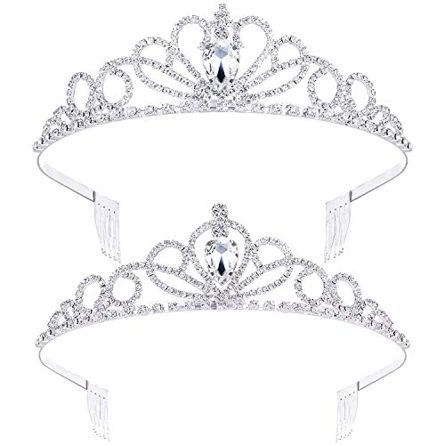 2 Pack Tiara Crown Jewelry Gift for Women Girls,Headband Headpiece Silver Crystal Rhinestone Diadem Princess Birthday Yallff Crown with Comb,Bridal Wedding Party Bridesmaid Prom Pageant Gift.