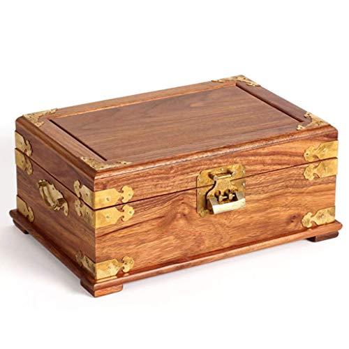 DLYDSSZZ Joyería de la joyería Antigua Caja de Almacenamiento Caja con Cerradura de Madera Maciza de Jade Gem colección de la Caja del Regalo de Boda Cajas de Reloj, Decoración Display Box