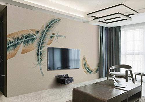 Papel pintado de estilo chino retro de plumas marrones Papel pintado no tejido Mural de efecto 3D Pared Pintado Papel tapiz 3D Decoración dormitorio Fotomural sala sofá mural-400cm×280cm