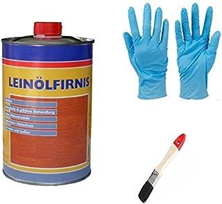 Leinöl - Firnis Holzimprägnierung & zum Herstellen von Ölfarben inkl. Pinsel zum Auftragen von E-Com24 Firnis 1 Liter