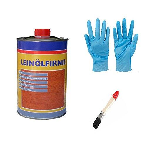 Leinöl - Firnis Holzimprägnierung & zum Herstellen von Ölfarben inkl. Pinsel zum Auftragen von E-Com24 (Firnis 1 Liter)