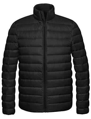 Wantdo Men's Packable Light Weight Down Jacket Warm Winter Coat Black Small