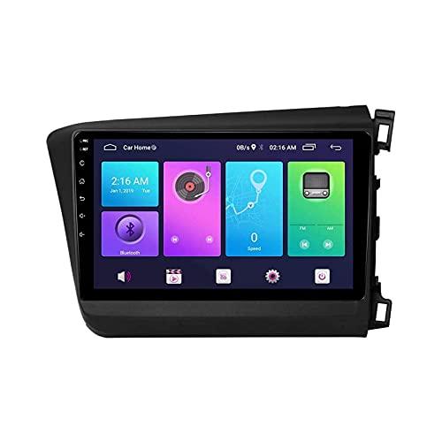 Coche Estéreo GPS Navegación para Honda Civic 2012-2015 Unidad Principal 1080P Pantalla Táctil Player Multimedia Radio Navegación Bluetooth/SWC/WiFi/Espejo Enlace/FM Am,4 Core 4g+WiFi: 1+16gb