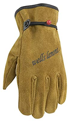 Wells Lamont Heavy Duty Leather Work Gloves, Suede Cowhide, Brown