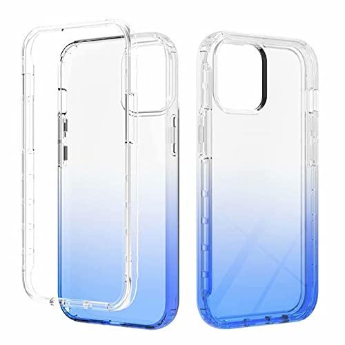 FHXD Compatible con Funda iPhone 13 Pro Degradado Color Antigolpes Cáscara Suave Transparente Atrás Shell + Ultrafina Silicona TPU Frontera Caso Delantero-Azul