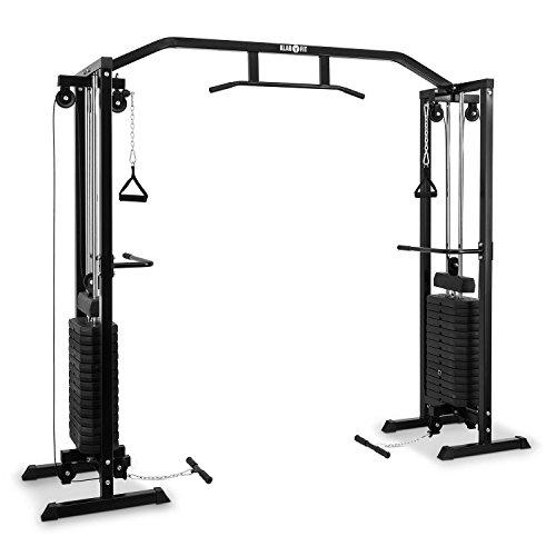 Klarfit Cablefit - zweiseitiger Kabelzug, Kabelzugbrücke, Kabelzugstation, Zwei Türme mit je 170 lb [77 kg] Maximalgewicht, schwarz