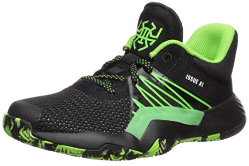 adidas Boy's D.O.N. Issue #1 Basketball Shoe, Black/Team Solar Green/Silver Metallic, 4 Medium US Big Kid