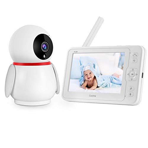 """Vigilabebés Inalámbrico, Bebé Monitor Inteligente Pantalla 1080P LCD 5"""", Cámara de visión nocturna giratoria de 270 grados, Intercomunicador Bidireccional, Monitor de Temperatura, Canciones de Cuna"""