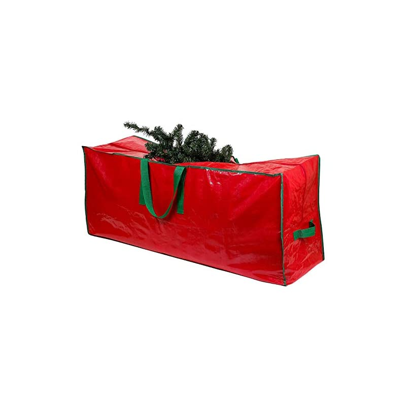 silk flower arrangements christmas tree storage bag - stores a 7.5 foot artificial xmas holiday tree. durable waterproof material to protect against dust, insects, and moisture. zippered bag with carry handles. (red)