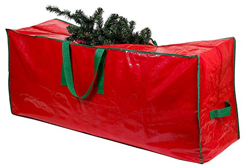 Christmas Tree Storage Bag - Stores a 9-Foot Artificial Xmas Holiday Tree. Durable Waterproof Material to Protect Against Dust, Insects, and Moisture. Zippered Bag with Carry Handles. (Red)