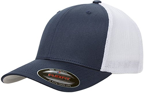 Flexfit Men's Trucker Mesh Cap-2-Tone, Navy/White, One Size Fits All