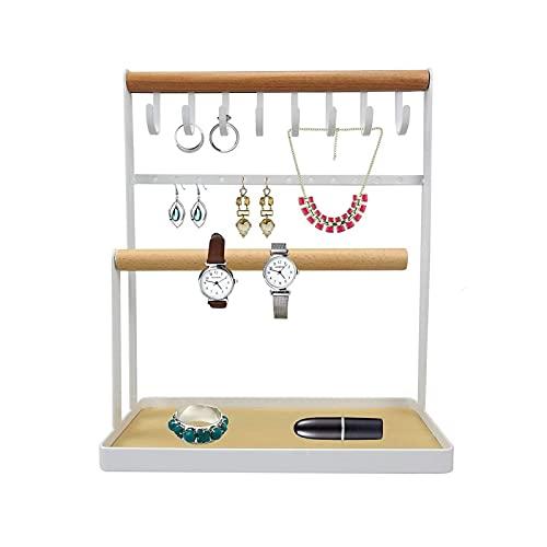 Soporte de joyería Colgante de la joyería Organizador de gancho de la exhibición de la exhibición de la exhibición del estante de la mesa de la mostradora del collar de pie libre de la mostradora del