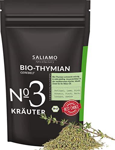 BIO Thymian gerebelt und getrocknet, als Thymian Tee, als Gewürz, mediterranes Gewürz, für Pizza und Nudel Saucen 250 g | Saliamo