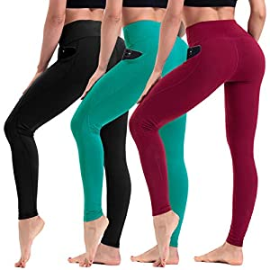 HLTPRO High Waist Yoga Leggings with Pockets for Women – Non See Through Tummy Control Yoga Pants for Workout, Running