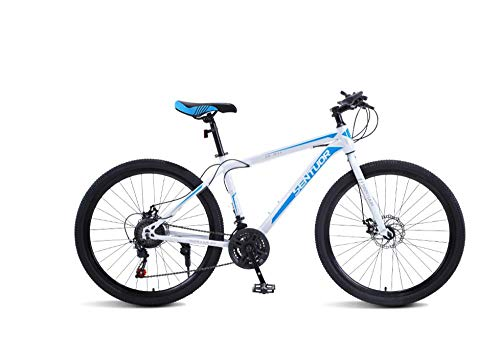 DGAGD Rueda Tri-cortadora de Bicicleta Ligera de Velocidad Variable de Bicicleta de montaña de 24 Pulgadas-Blanco Azul_21 velocidades