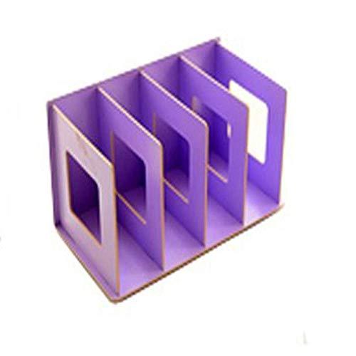 Piner Wood DIY Desktop Revistas y libros Almacenamiento CD DVD Estantes de almacenamiento Exhibidor de libros Estante Soporte Organizador de escritorio de malla de soporte Escritorio de metal, púrpura