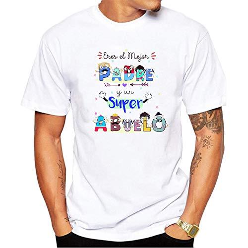 Camiseta Eres el Mejor Padre y un superabuelo. Regalo Divertido para Padres y Abuelos. 100% algodón Natural. (XL)