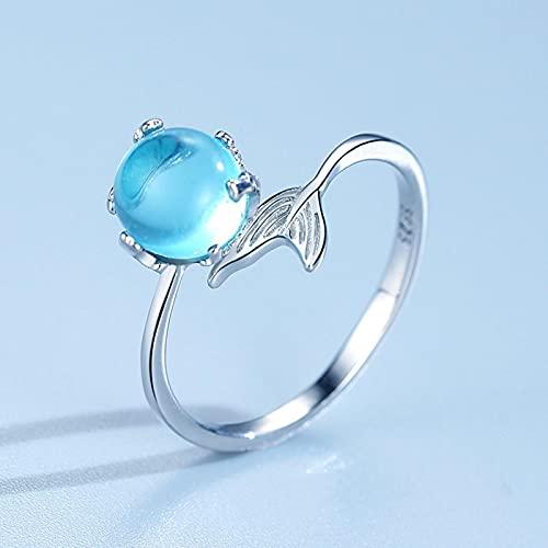 SHIYONG Ring Fischschwanz Kristall Silber Farbe Einstellbar Offener Ring Mädchen Mode Strandparty Geburtstagsgeschenk Schmuck