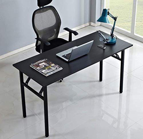 DlandHome Mesa Plegable Mesa de Ordenador 120x40cm Escritorio de Oficina Mesa de Estudio Puesto de Trabajo Mesa Plegable para salón/Comedor,Negro