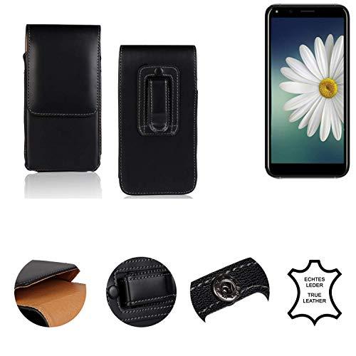 K-S-Trade® Holster Gürtel Tasche Für Doogee X53 Handy Hülle Leder Schwarz, 1x