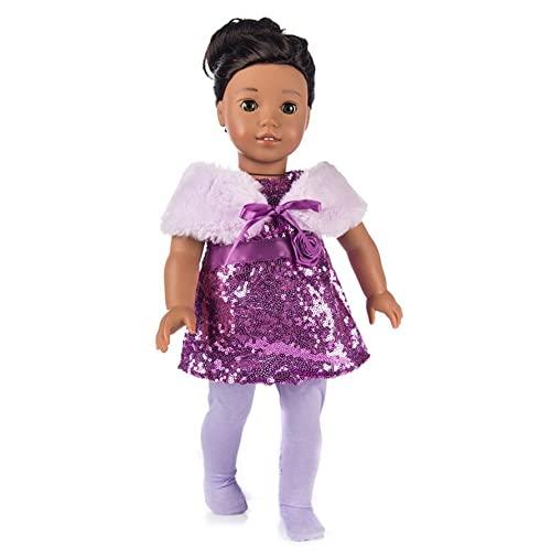 Kuyoly Abbigliamento per bambole, 18 pollici, American Doll Girl vestiti per bambole, sciarpa + fascia per capelli + gonna American Girl Christmas Rock Fashion