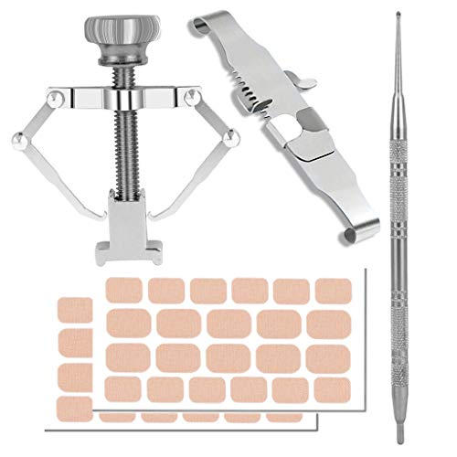 Ingrown Toenail Tool, 47 Pieces Ingrown Toenail Corrector and Lifter Toe Nail Correction Buckle Kit With Sticker for Professional Treatment (M)