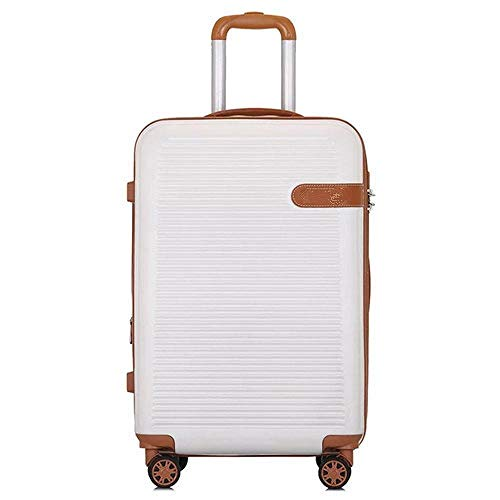 SFBBBO luggage suitcase Fashion travel trolley luggage men women carry on rolling luggage spinner on wheels 20' white