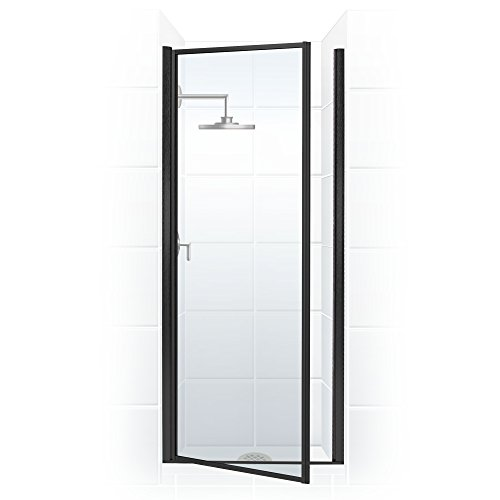Legend Series 22 in. x 68 in. Framed Hinge Shower Door in Matte Black with Clear Glass