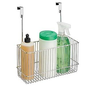 mDesign Canasto organizador 'classico' – práctica estantería colgante de acero cromado – accesorio para armarios fácil de colocar, para guardar productos de limpieza, artículos de baño, etc.