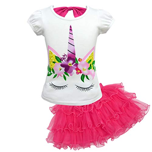 Lito Angels Vestito Unicorno per Bambina, Set di T-Shirt e Gonna Tutu, Abito Casual Estivo Halloween Festa Compleanno, Taglia 7-8 Anni Mesi, Rosa Caldo 184