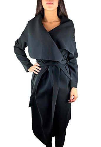 Worldclassca Damen Wasserfall Mantel Blogger Jacke Trenchcoat Fashion Cardigan Kragen ÜBERGANGSJACKE (one Size, Schwarz)
