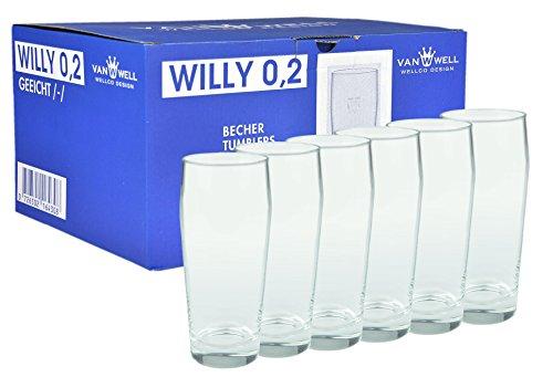 Van Well 6er Set Bierglas Willibecher 0,2L geeicht