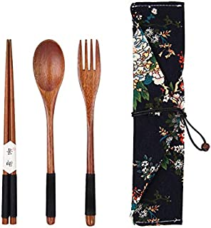 Arts de la Table en Bois Portable Couverts en Bois Ensembles Vaisselle Voyage Costume Environnement avec Un Chiffon Paquet...