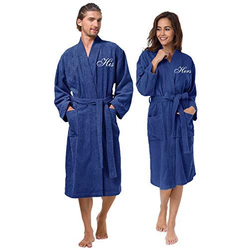 AW BRIDAL Bata de toalla de algodón Bata de kimono de algodón para mujeres y hombres Conjunto de bata azul marino - Monograma blanco para él / ella