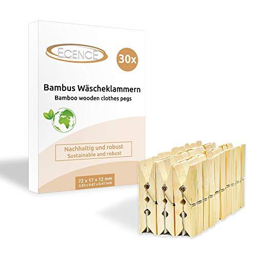 ECENCE Pinzas de bambú para la Ropa, 30 Unidades, 72 x 17 x 12mm, Pinzas para Manualidades, Pinzas sostenibles de Madera, muelles extrafuertes 13040302