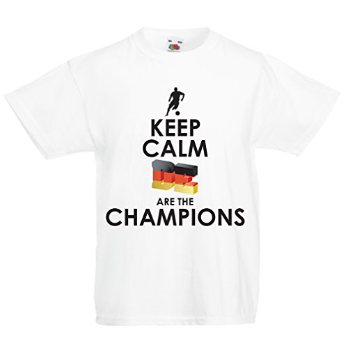 Camiseta Niños/Niñas Los alemanes Son los campeones - Campeonato de Rusia 2018, Copa Mundial de fútbol, Equipo de la Camiseta del Ventilador de Alemania (9-11 Years Blanco Multicolor)