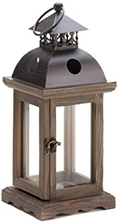 Small Monticello Rustic Wooden Hanging Candle Holder Lantern Lamp