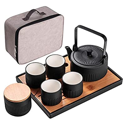 Bgbg Porcelain Teapot Set-Ceramic Tea Set With 1 Teapot,4 Teacups,1 Loose Leaf Tea Canister and 1 Tea Tray ,Portable Travel All in One Gift Bag for Outdoor Picnic Business Hotel,Black