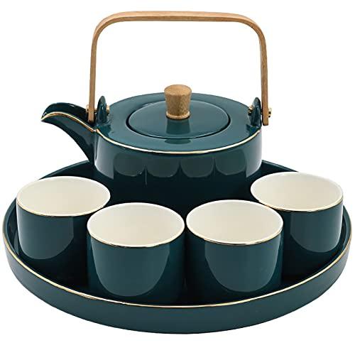 Juego de té de cerámica de estilo europeo Phnom Penh Flower Tea Cup Taza de agua para el hogar Kung Fu Tea Set con bandeja (juego de 6 piezas)
